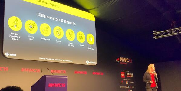 MWC 19  - Donna on stage at GSMA conference-1
